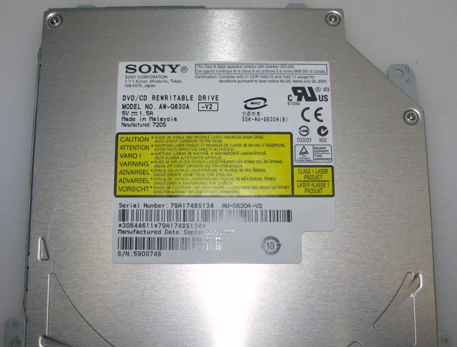 Sony AW-G630A DVD CD Writer Burner Slot-in DVDRW Drive Apple G3 G4 G5 Mac Mini
